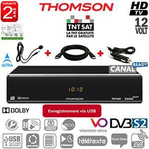 Pack THOMSON THS804 HD - Terminal numérique TNTSAT HD Canal Ready - 12Volts - PVR via USB - HDMI - Péritel - avec carte Viaccess TNTSAT (Valable 4 ans) sur Astra 19.2° + Déport IR + cordon allume-cigare 12Volts + Cordon HDMI offert