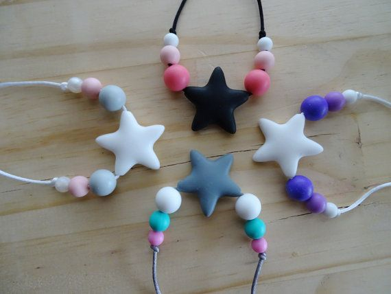 Kids Necklace StarsNon toxic kids jewelryChew by LuluandLettie