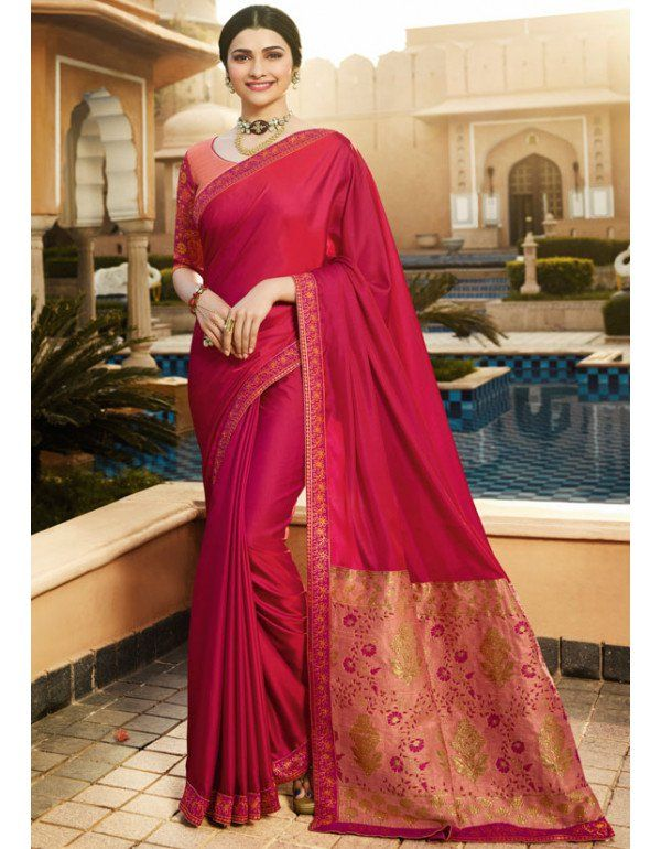 fa3b0d8bfb4a77 Prachi Desai Rani Pink Silk Saree | Party Wear Sarees in 2019 | Pink ...