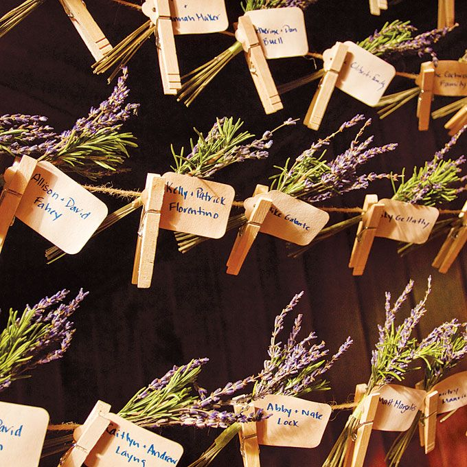 everyone found their seats via escort cards pinned to twine and sprigs of lavender - lovely (could add a ribbon of any color too!)