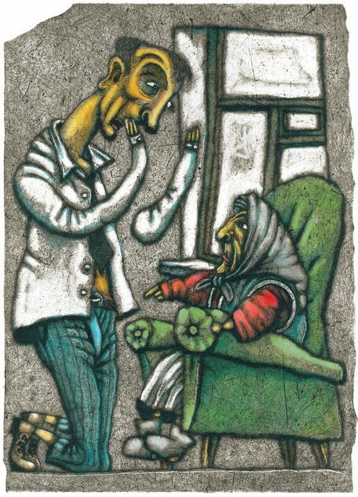 illustratie van Yuri Shtapakov, uit 'Daniil Kharms - Случаи и вещи (Events and Things) - 2007'