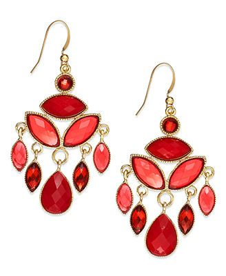 Gold Tone Red Stone Chandelier Earrings
