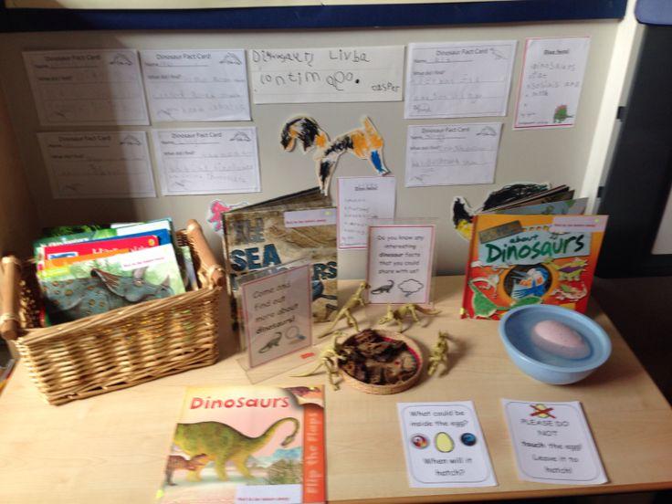 Dino egg and books