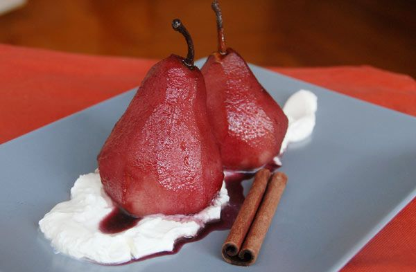 Red wine poached pears and spicesNomr