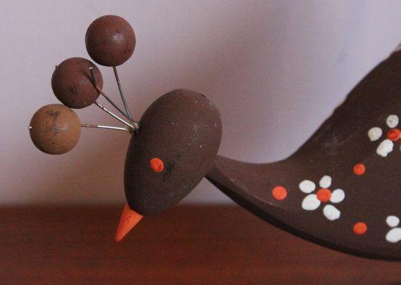 Adorable vintage retro wooden Bird figurine by ThreeCrownsRetro