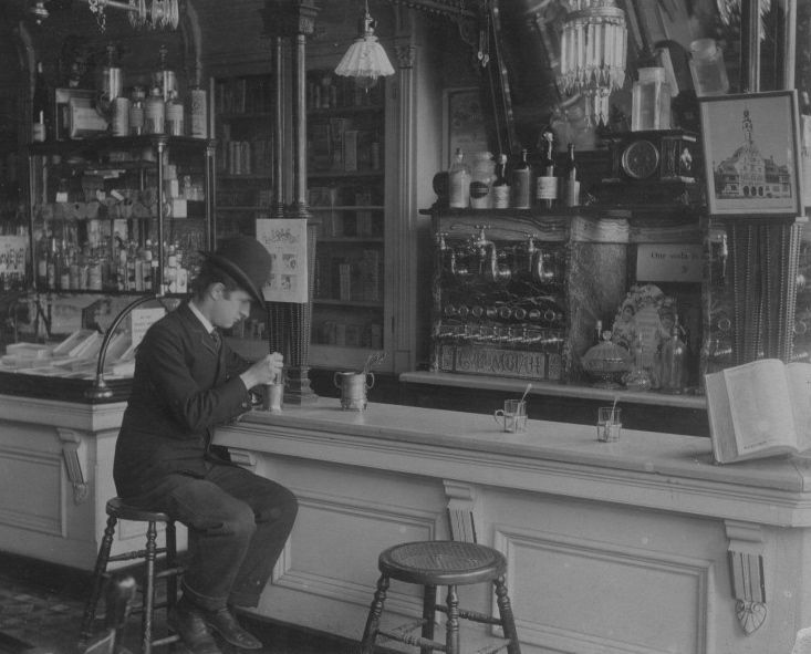 The soda fountain at Vogelsang's Drugstore, Lincoln and Fullerton, c.1895, Chicago.
