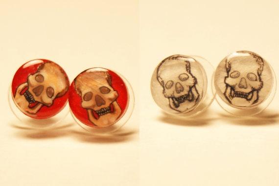 Small Skull Pair of Stud Earrings. $10.00, via Etsy.