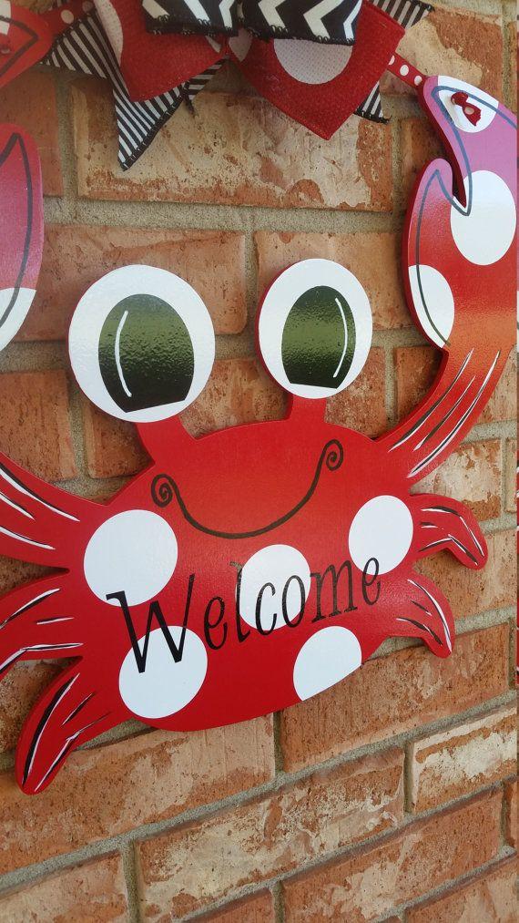 Crab Door Hanger Welcome Door Sign Beach Decor Nautical Decor