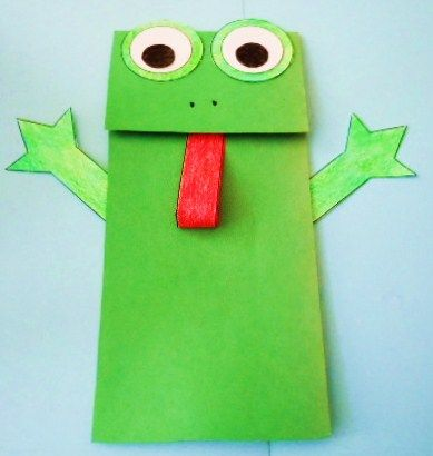 Learning Ideas - Grades K-8: Frog Paper Bag Puppet Crafts Project