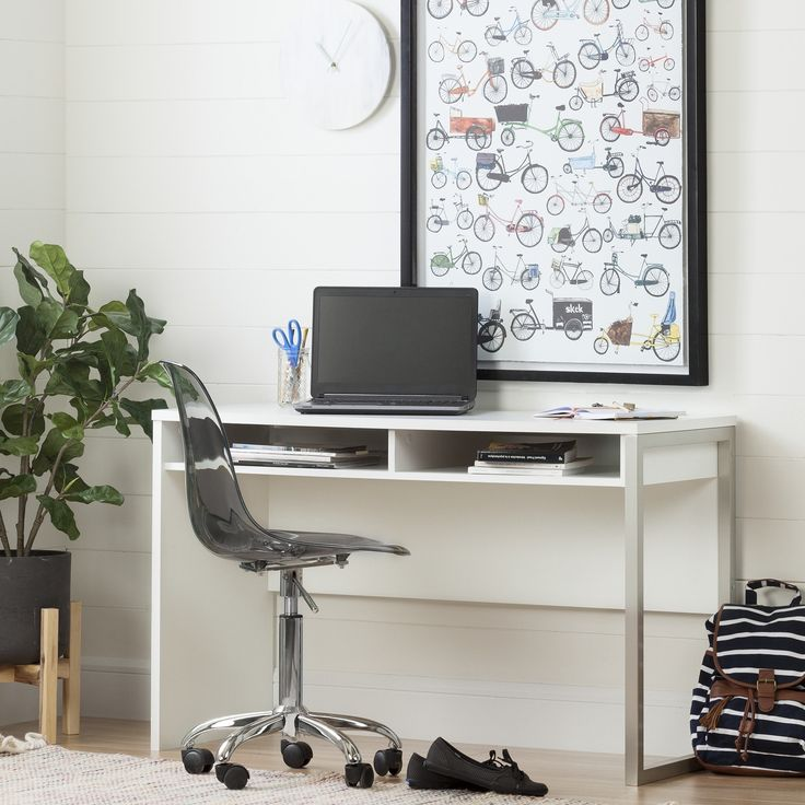 South Shore Interface Desk with Office Chair With Wheels (White - White Finish/Grey Finish)