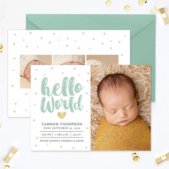 SALE Birth Announcement Template Birth by hazyskiesdesigns on Etsy