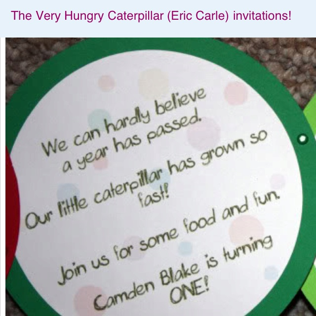 Hungry Caterpillar - First birthday party invitations