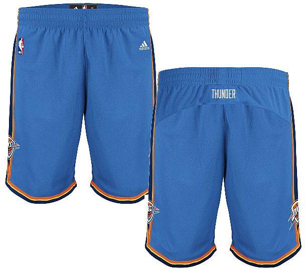 Oklahoma City Thunder Blue Embroidered Swingman Shorts By Adidas $64.95