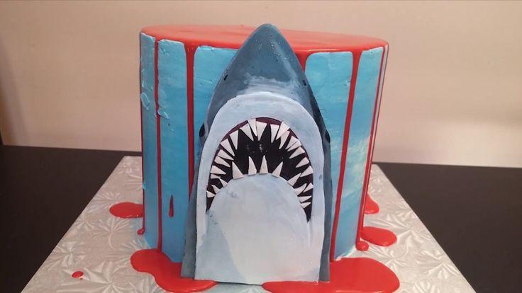 Jaws Shark Halloween Drip Cake Tutorial