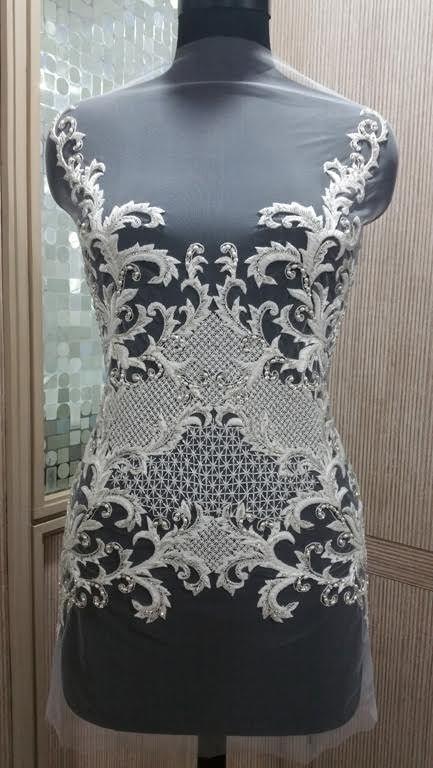 Hand Beaded Wedding Dress Bodice--Allyson James