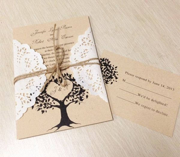 2014 diy lace wedding invitations for country rustic wedding ideas