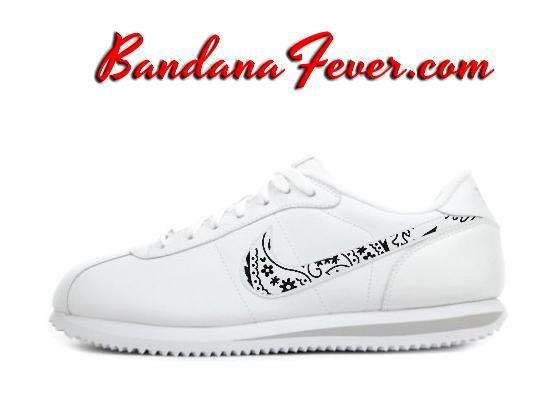 Custom Black Bandana Nike Cortez Leather White/Grey, FREE SHIPPING, #paisley, #Nike by Bandana Fever