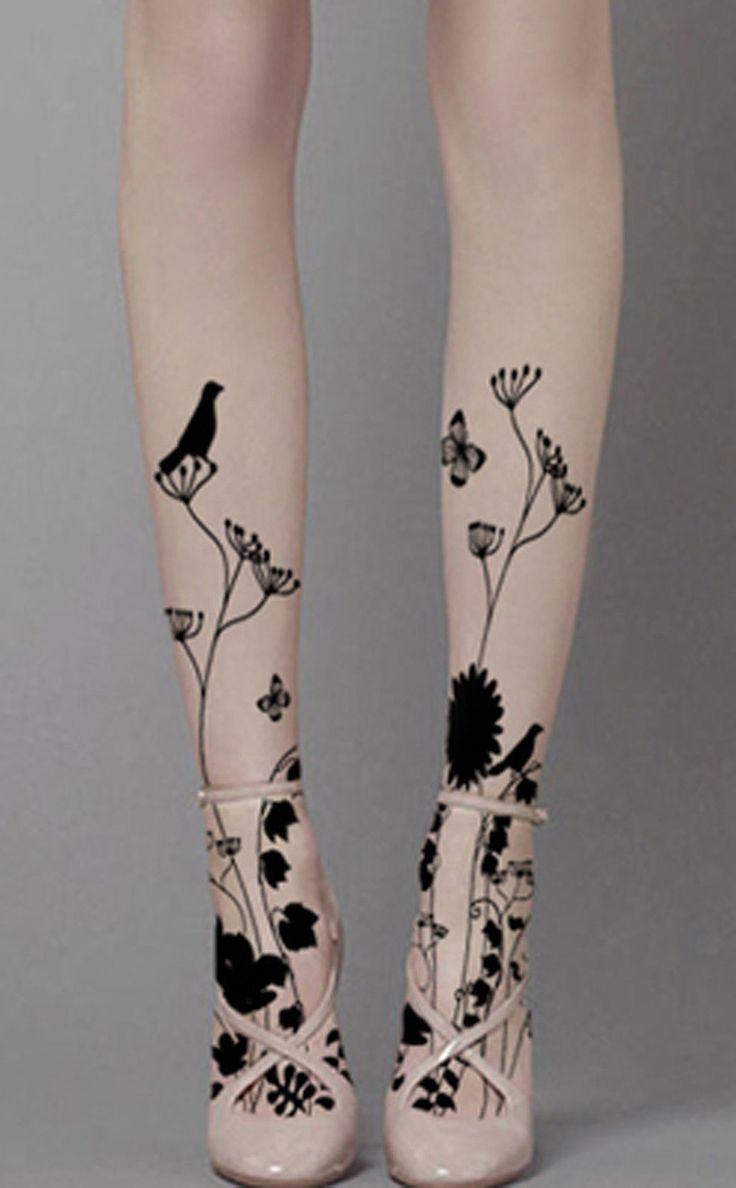 Black Birds Floral Sheer Pattern Tights Funky Designer Gothic Fashion Pantyhose…
