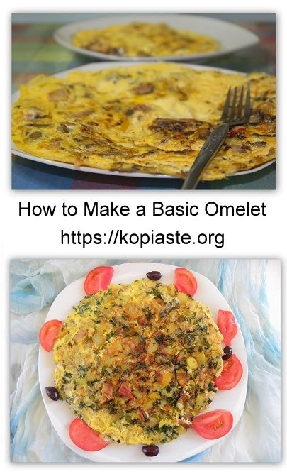 An  Omelet (or omelette) is usually a breakfast or brunch dish but it also makes a quick, easy, delicious, and healthy meal any time of the day or night. Basically, all you need are eggs, olive oil (or butter), salt and pepper.  However, the moree ingredients you add to it, the better! #omelet #omelette #eggs #breakfast #kopiaste