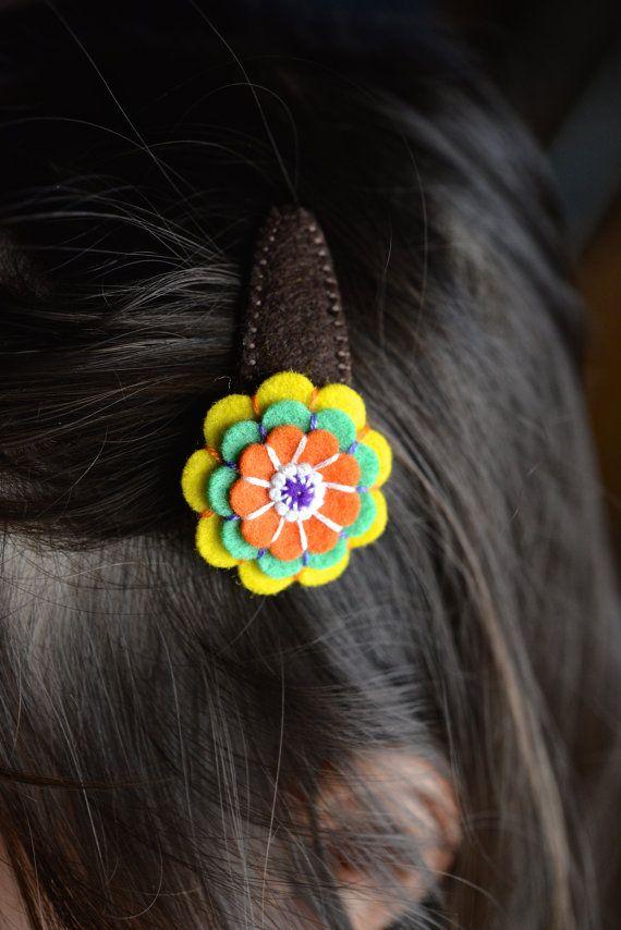 Flower Hair Clips Baby Hair Clips Wool Felt Hair от KikayKids