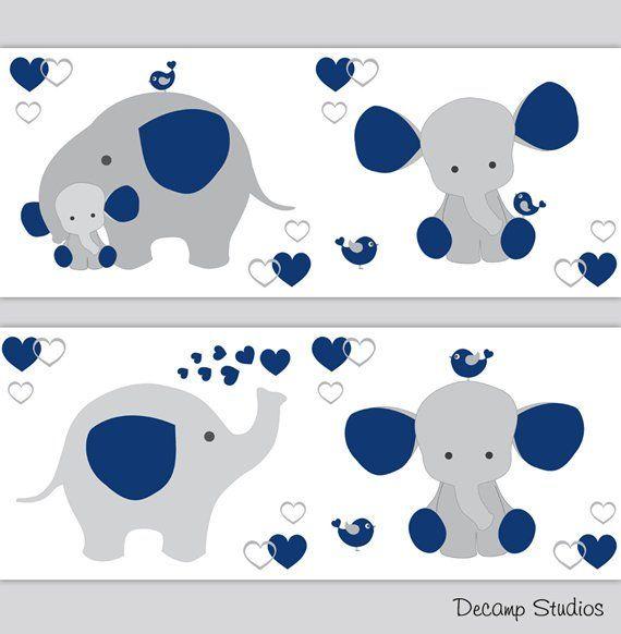 Chambre De Bebe Elephant Bleu Marine Fond D Ecran Frontiere