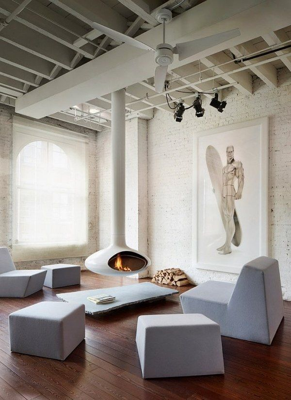 white suspended fireplace living room furniture lounge furniture penthouse apartment