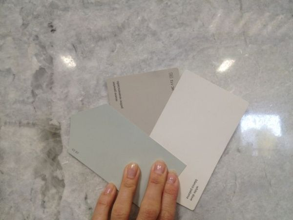 Princess White Quartzite with SW Sea Salt, BM Revere Pewter and BM White Dove by maritza