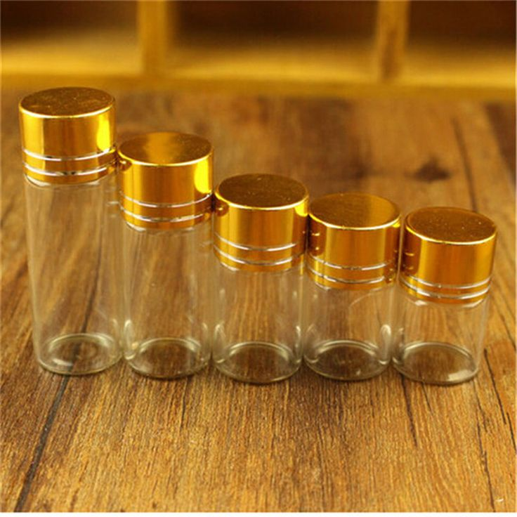 Банки Контейнеры Стеклянные Бутылки с Алюминиевой Золотой Колпачок Пустые Стеклянные Бутылки 15 мл 25 мл 40 мл 50 мл 60 мл Ювелирная Упаковка 24 шт.