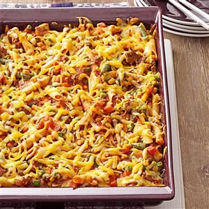 Sloppy Joe Veggie Casserole Recipe -Sloppy joe flavor meets veggie lasagna wholesomeness. My family loves this dynamic duo, and you'll love how simple it is to prepare. —Sue Schmidtke, Oro Valley, Arizona