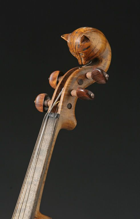 Cat Head Violin | From a unique collection of antique and modern musical instruments at http://www.1stdibs.com/furniture/more-furniture-collectibles/musical-instruments/