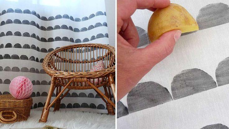 rideau customisation diy motif scandinave