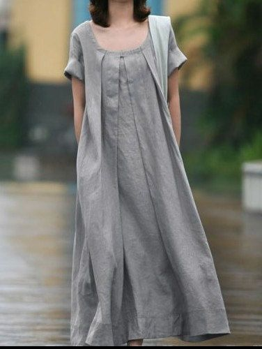 Grey Linen dress women dress fashon dress Long dress with a belt.