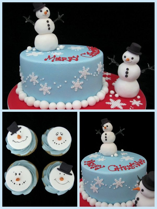 christmas cake idea with snowman inspired by michelle cake designs