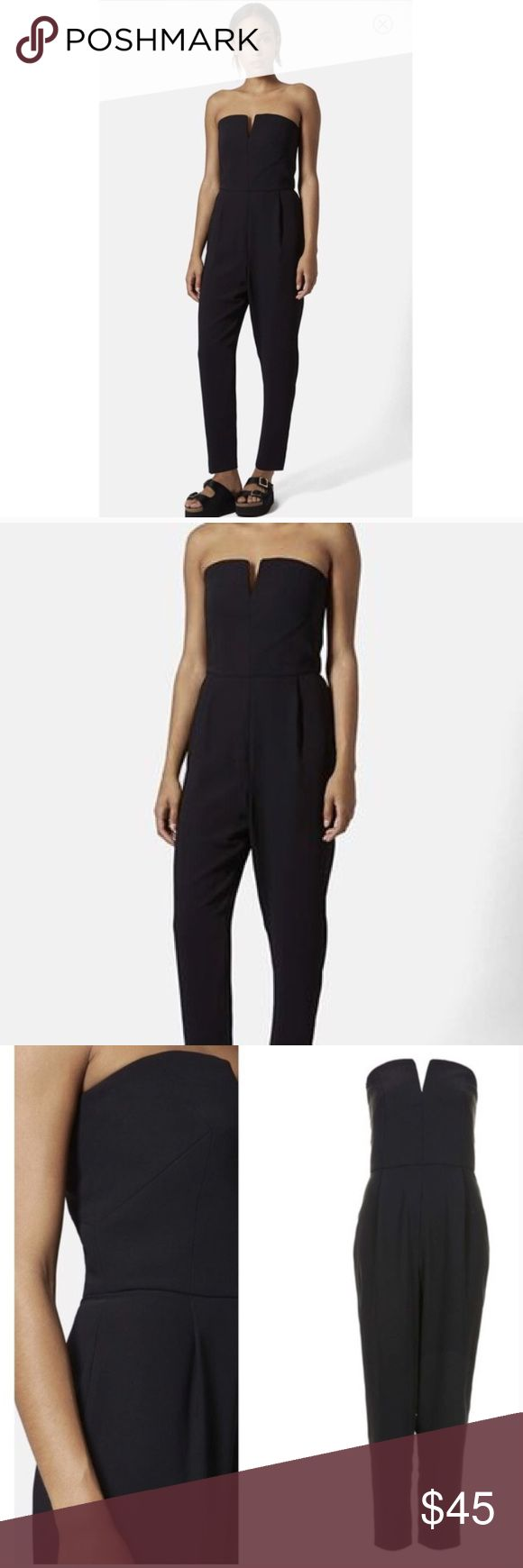TOPSHOP strapless black jumpsuit Super sexy for any event! TOPSHOP PETITE size 2 Topshop Pants Jumpsuits & Rompers