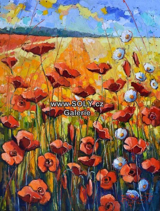 Vlčí máky, originál obraz českého malíře, olej na plátně, 100x75 cm, cena 18 500,-, léto, louka, krajina