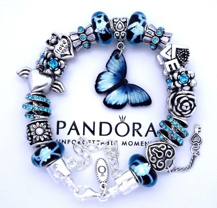 Authentic Pandora 925 Silver Charm Bracelet Blue Butterfly Love European Charms #PandoraBracelet #European
