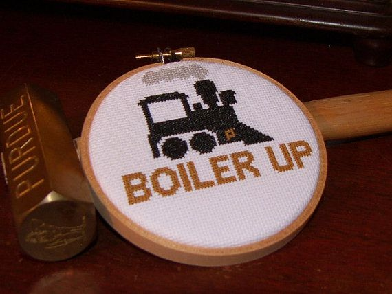 Purdue Boiler Up Cross Stitch by TwoEarthOrchards on Etsy
