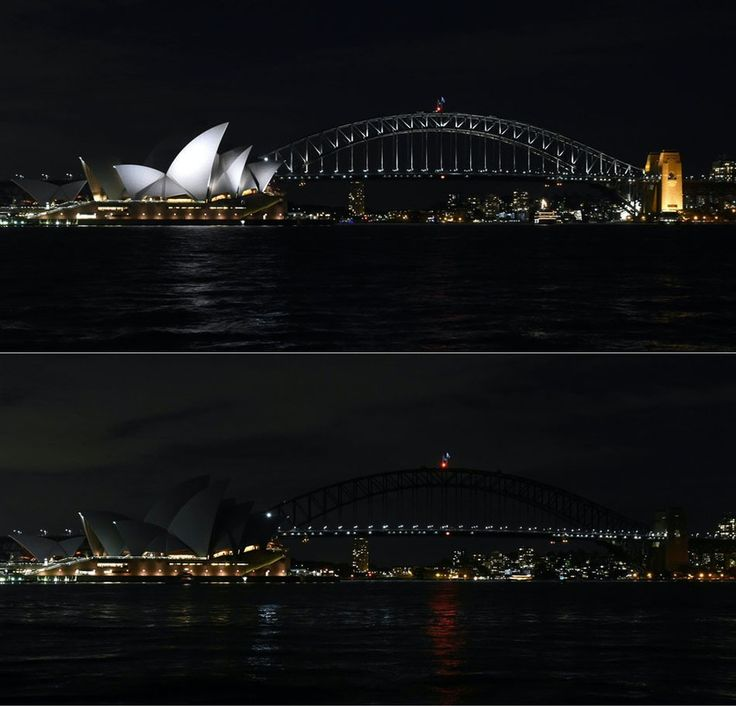 The Sydney Opera House and Harbour Bridge joined the Earth Hour campaign as lights were switched off in Sydney, Australia