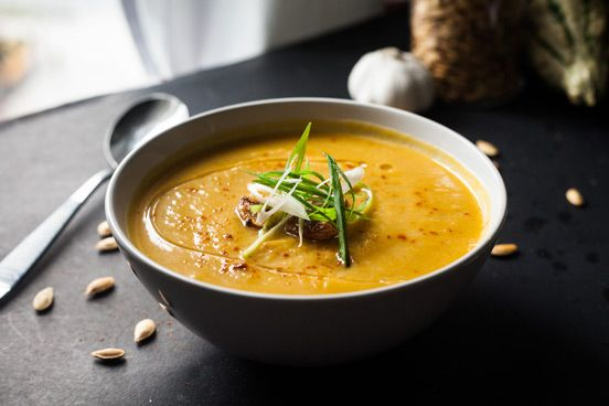 Roasted Garlic, Pumpkin and Leek Soup: use veggie broth and almond milk for vegan.