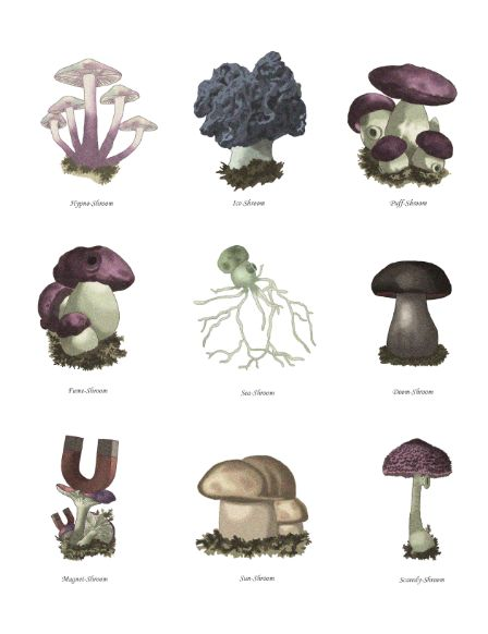 Plants vs. Zombies mushroom botanical scientific illustration from Virtual to Vintage.