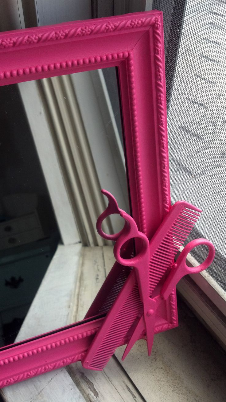 "LOVE this pink hairstylist ""Shears Mirror""!! @Ashley Walters Walters Walters Walters Blue"