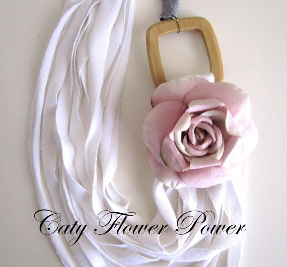 White Fabric Necklace Pink Flower Necklace Boho by catyflowerpower, $28.00