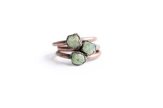 Raw garnet ring | Green Garnet ring | Electroformed Garnet ring | Raw Gemstone ring | Demantoid Garnet | Raw mineral ring by HAWKHOUSE #TrendingEtsy
