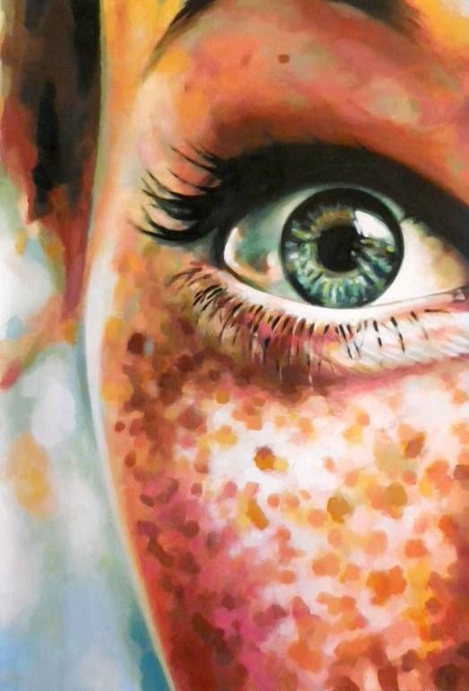 "Artist: Thomas Saliot; Oil 2015 Painting ""Close up green eye freckles (sold)"""