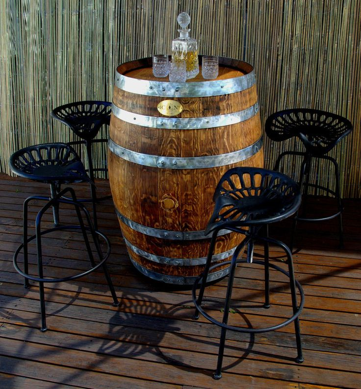 Wine Barrel Table And Four Tractor Stools Elfresco Bbq