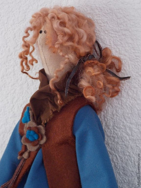 Купить В стиле Бохо. Эшли - синий, тильда, текстильная кукла, интерьерная кукла ♡
