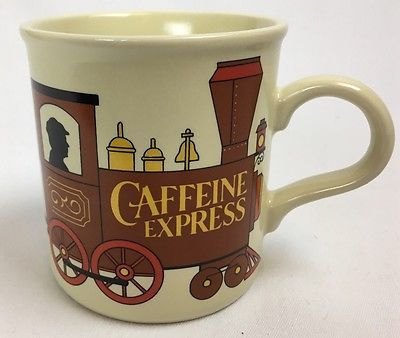 """Caffeine Express"" Train Stoneware Coffee Tea Cocoa Mug American Greetings"