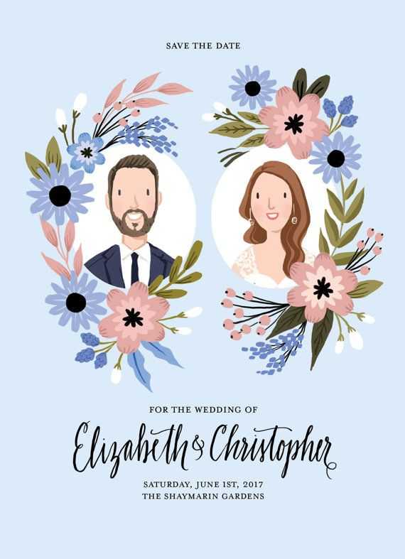 Custom Illustrated Couple Portrait Save the Date Card - Digital File Only