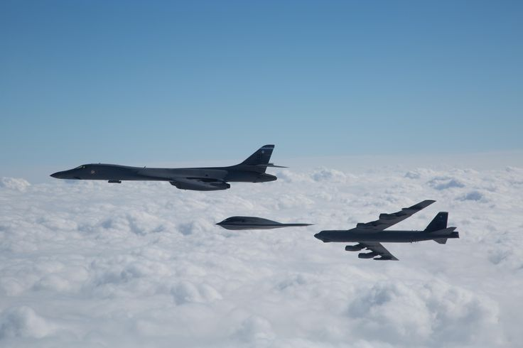 United States Air Force (USAF) B-1B Lancer supersonic bomber USAF B-2 Spirit stealth bomber USAF B-52 Stratofortress bomber . . . Photographed by Sagar Pathak on 2 February 2017 in Louisiana United States of America