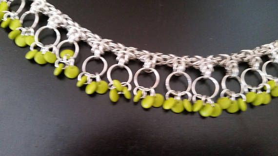Byzantine and Green Lentil Chain Maille necklace 3